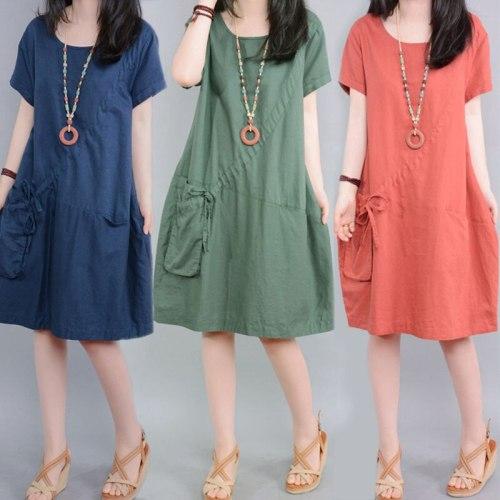 Women Casual Fashion O-neck Loose Comfortable Cotton Linen Dresses