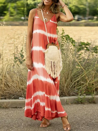 Casual Sleeveless Gradient Tie-Dye Striped V Neck Loose Maxi Dress