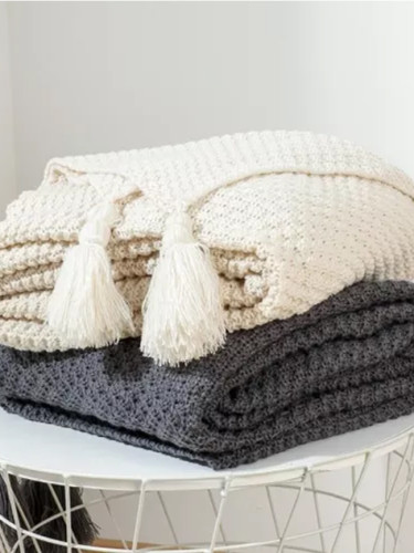 Knit Blanket with Tassel Blanket Home Textile Fashion Knitted Blanket