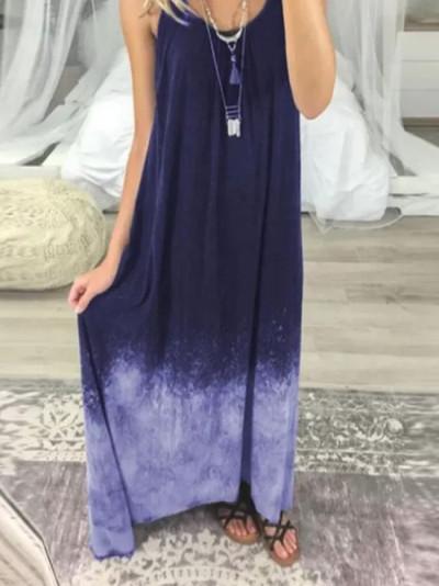 Women Casual Tie-dye Print Sleeveless O-Neck Big Hem Dress