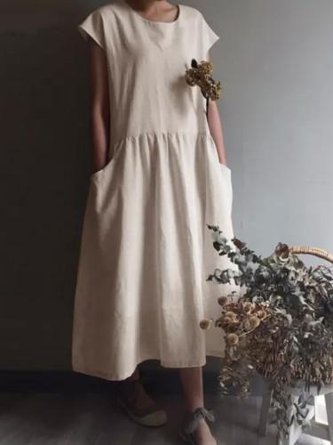 Vintage Linen Pleated Long Shirt Sundress Casual Short Sleeve Loose Dress