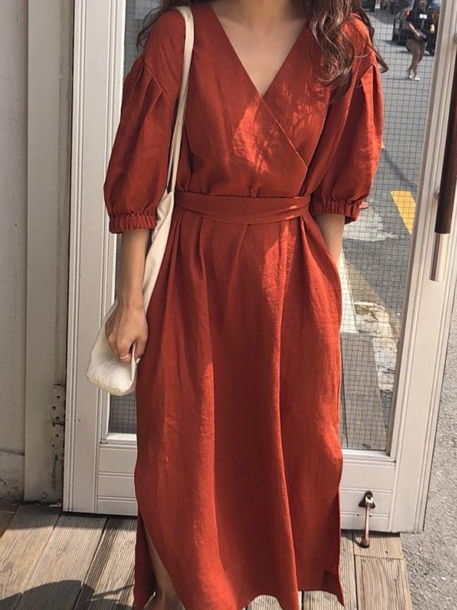Summer Vintage Sexy V Neck Cotton Long Dress