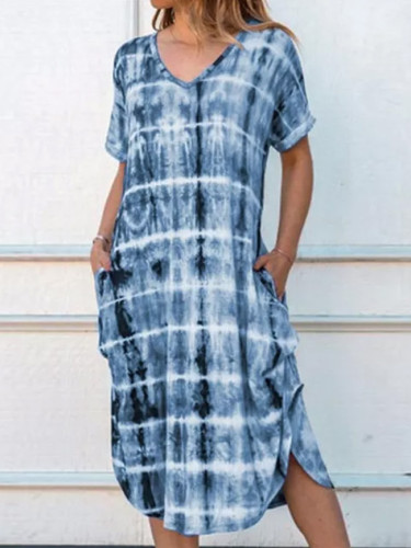 Gradient Printed Maxi Dress V Neck Casual Loose Dress