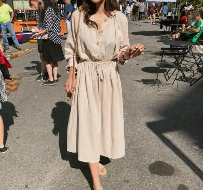 Vintage Autumn Long Shirt Cotton Round Collar Solid Color Sundress with Buttons
