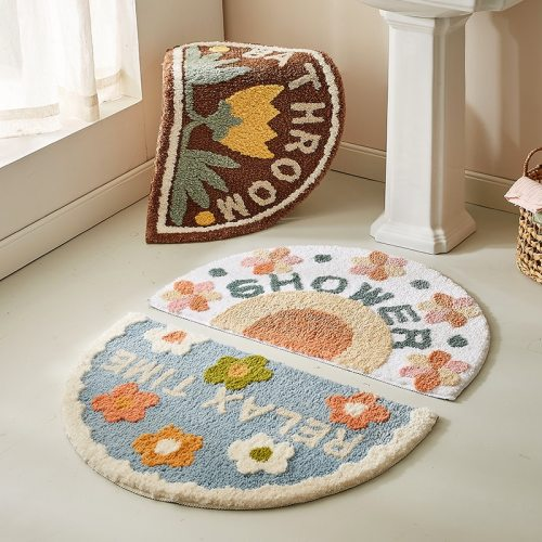 Simple Bathroom Floret Carpet Flower Rugs House Entrance Carpets thickened