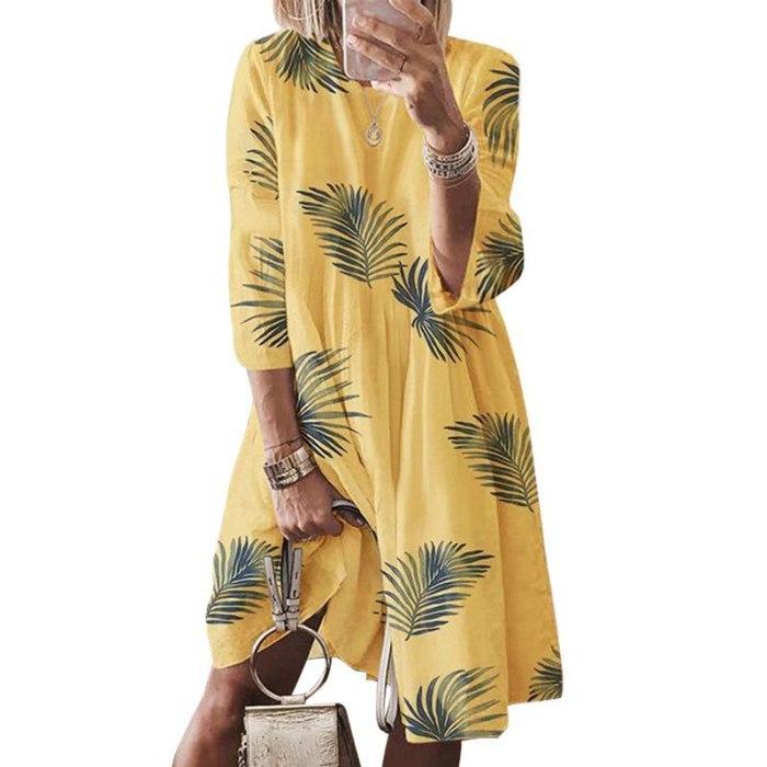 Loose butterfly Leaf Printed Vintage Dress