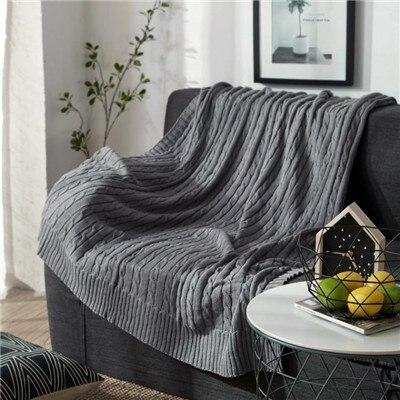 Cotton Blanket Chunky Knit Blanket Sofa Blanket Blankets for Beds