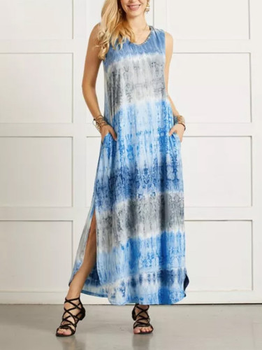 Tie-dye Dresses Split Irregular Hem V-neck Sleeveless Dress