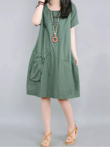 Women Casual Fashion O-neck Loose Comfortable Cotton Linen Dresses