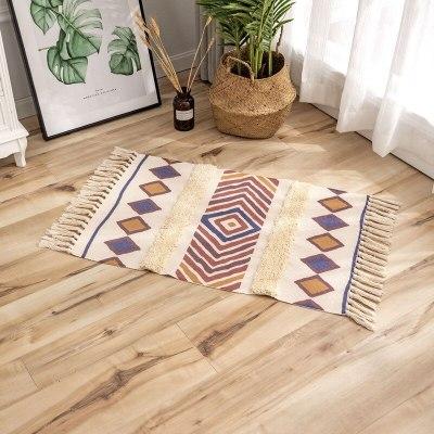 Retro Bohemian Hand Woven Cotton Linen Rugs