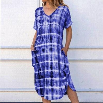 Gradient Printed Maxi Dress V Neck Casual Loose Dress