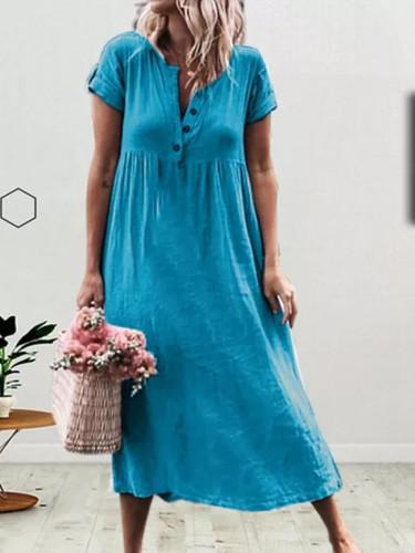Women Cotton Linen Long Dresses Casual  Splice Button Dresses