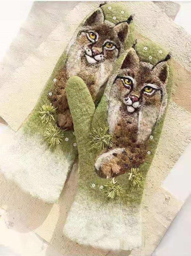 Thick Warm Outdoor Gloves Mittens Female Plus Velvet Mittens