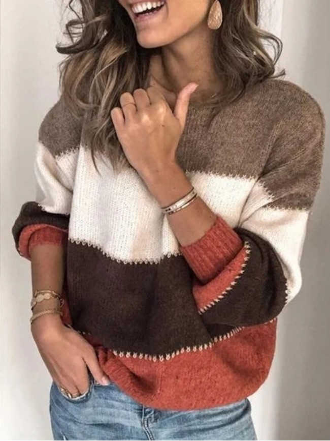 Ladies Loose Pullovers  Patchwork Color Long Sleeve Casual Pullovers
