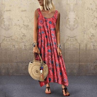 Bohemian Clothing Scoop Neck Beach Style Sundresses Women Dress