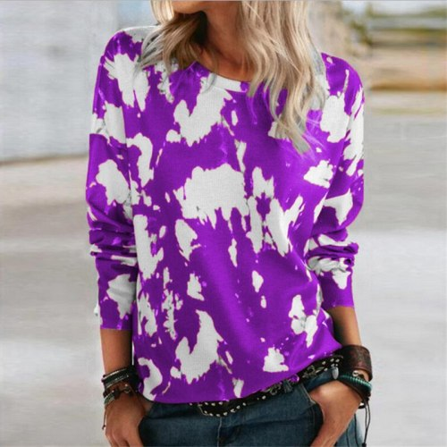 Women Elegant Print O Neck Blouse Shirt Vintage Pullovers Casual Loose