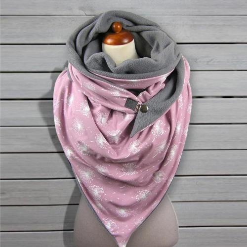 Soild Dot Printing Button Soft Wrap Casual Warm Scarves Shawls