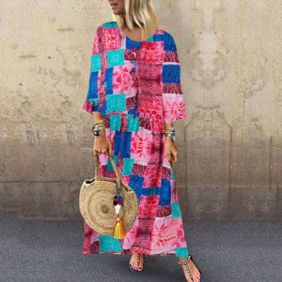 Women Long Sleeve Dress Maxi Long Evening Party Beach Dress