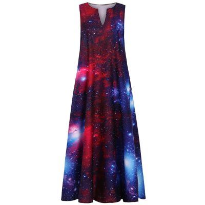 Women Summer Fashion Casual Sleeveless Vintage Bohemian V Neck Dress