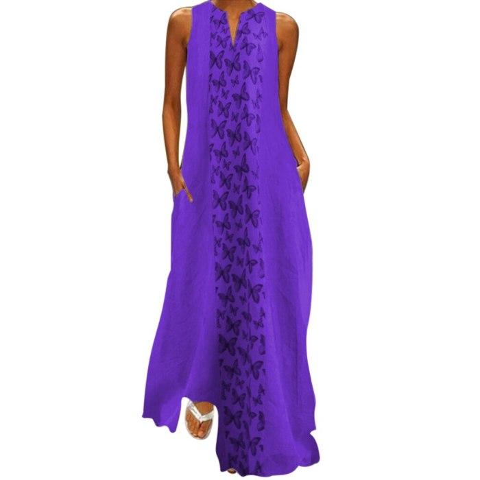 Butterfly Print Sleeveless Cotton V-Neck Maxi Dresses Plus Sizes Big Large Dress