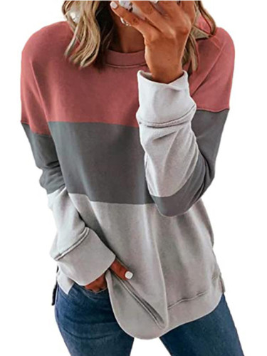 Women Patchwork T Shirt Long Sleeve Autumn O-Neck Loose