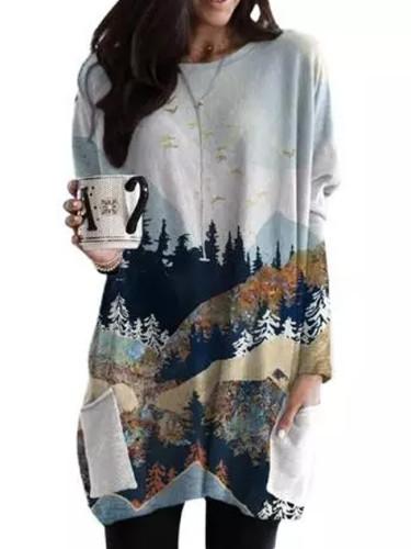Corduroy dress winter ladies landscape printing retro pocket corduroy dress
