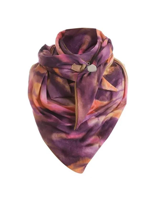 Fashion Winter Women Printing Button Soft Wrap Casual Warm Scarves Shawls