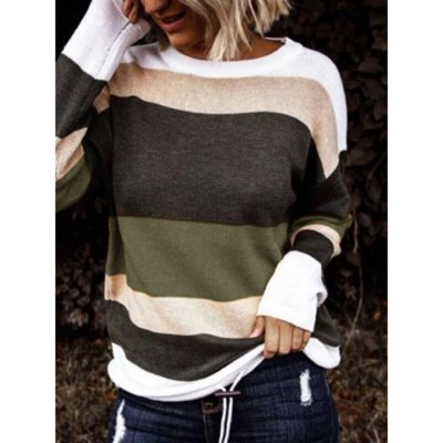Autumn Winter Women's Slash Neck Striped Pattern Solid Pullovers Sweater