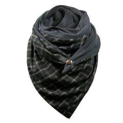 Winter Stripe Dot Printing Button Shawls Soft Wrap Warm Casual Scarf