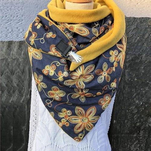 Fashion Women Printing Button Soft Wrap Casual Warm Scarves Shawls