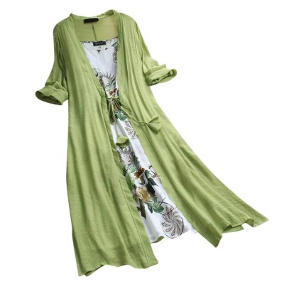 Women Vintage Boho O-Neck Floral Print Lace Two-piece Sleeve Dress