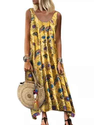 Bohemian Clothing Scoop Neck Beach Style Sundresses Women Dress