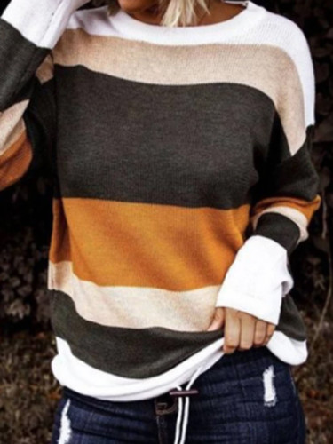 Autumn Winter Women's Slash Neck Striped Pattern Solid Pullovers Sweater