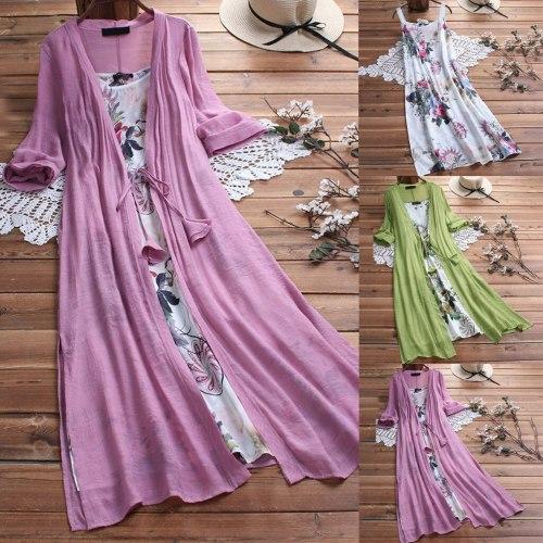 Women Vintage Boho O-Neck Floral Print Lace Two-piece Sleeve Dress