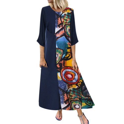Women Casual Vintage Print Patchwok  Sleeve Long Dresses