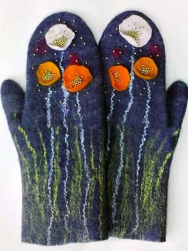 Ladies' cashmere padded printed winter warm Christmas gloves