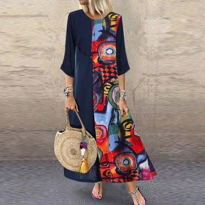 Women Casual Vintage Print Patchwok  Sleeve Long Dresses