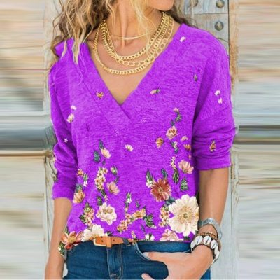 Women Deep V-Neck Blouse Retro Floral Print Long Sleeve Top Pullover