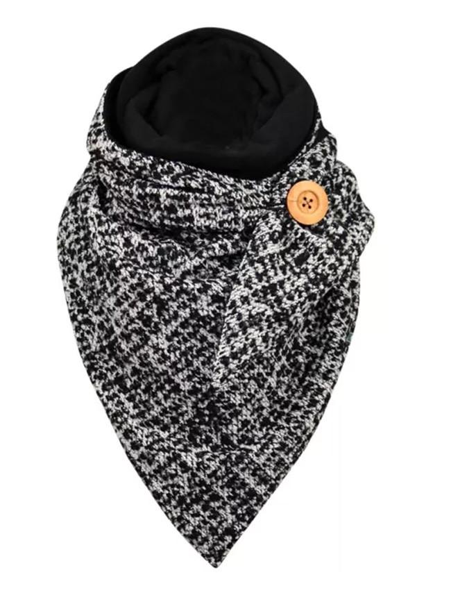 Winter Retro Scarf Wraps Metal Button Soft Wrap Casual Warm Scarves