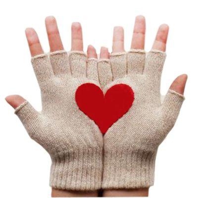Womens Winter Knit Fingerless Gloves Sweet Red Half Love Heart Irregular Patchwork Palm Solid Color Half Finger Mittens