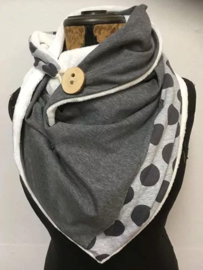 Printing Scarf Fashion Retro Female Multi-Purpose Shawl Button Scarf Women