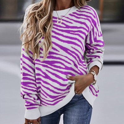 Women Fashion Striped Print Hoodies Sweatshirt CasualDye Pullover Tops