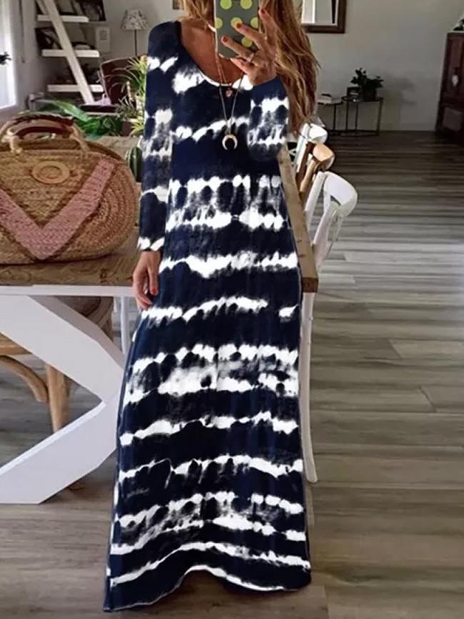 Women's Loose Gradual Printed Long Sleeve Elegant Length Long Dress