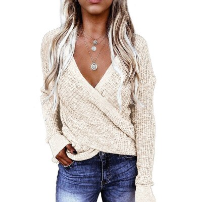 Women New Solid Color Cross-Type Deep Long-Sleeved Casual  Clothing Tops