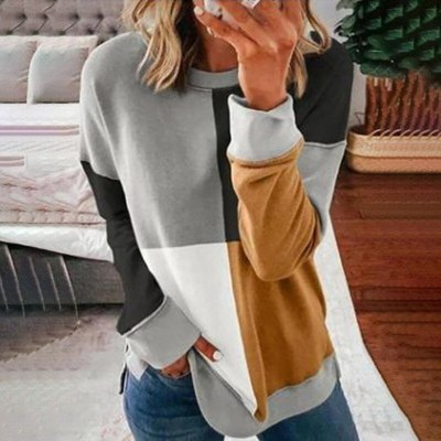 Loose Three Contrast Color Patchwork New Fashion  Long Sleeve Pullover Tops