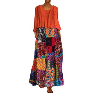 Women Vintage Two Pieces Ethnic Maxi Dress Long Sleeve dress