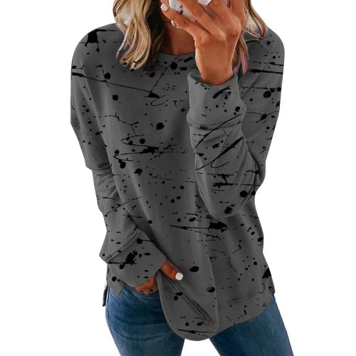 Women Dye Tie Graffiti Long Sleeve Oversize Casual LooseTops
