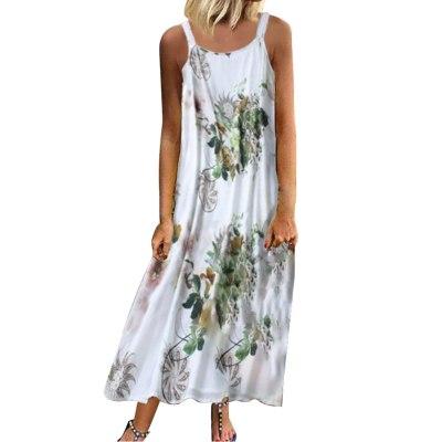 Sexy Women Vintage Sleeveless  Bohemian Floral Print Maxi