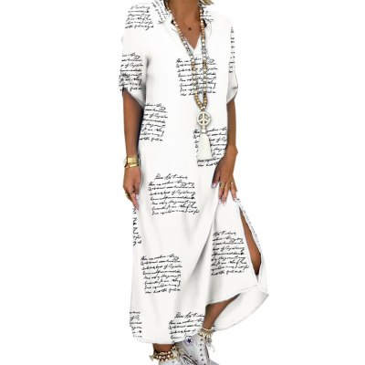 Women New Turn-Down Collar Shirt Button Casual Long Sleeve Beach Dress
