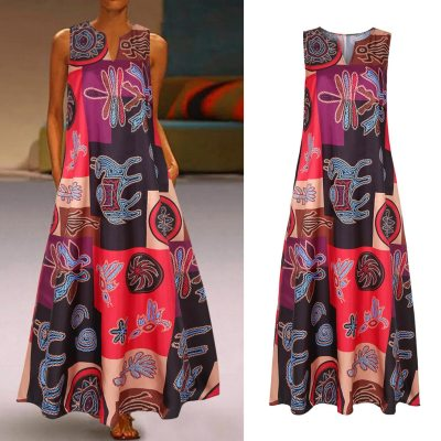 Women Summer Dress Casual Sleeveless V Neck Dress